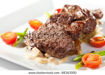 Beef Steak with Cherry Tomato and Asparagus - stock photo