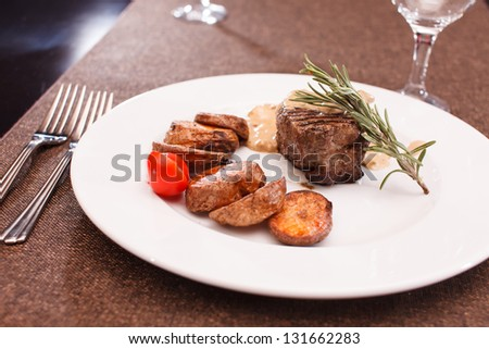 beef steak with potatoes
