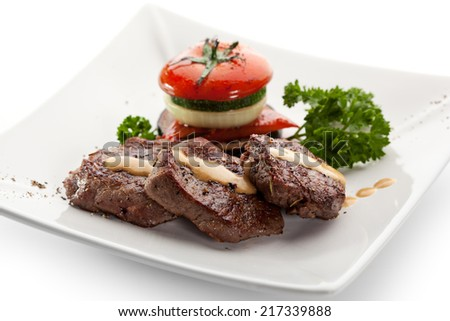 Beef Steak with Vegetables and Parsley - stock photo