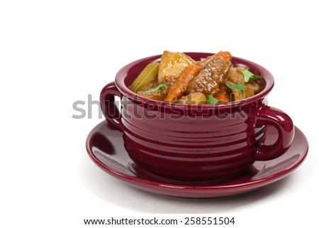 Beef Stew on white background. Selective focus. - stock photo