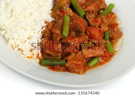 Beef Stew with Green Beans and Rice. Beef a la Mexicana. Isolated with clipping path.