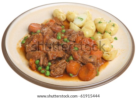 Beef stew with new potatoes - stock photo