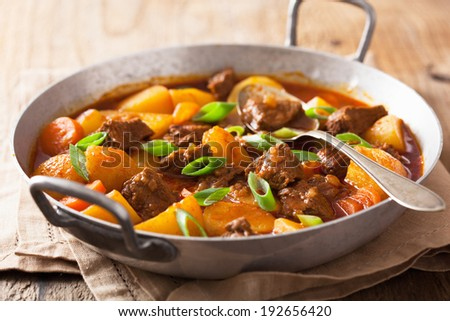 beef stew with potato and carrot  - stock photo