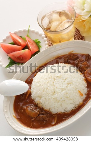 beef stew with rice for Japanese Hayashi rice image
