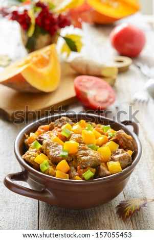 Beef stewed with ginger and pumpkin