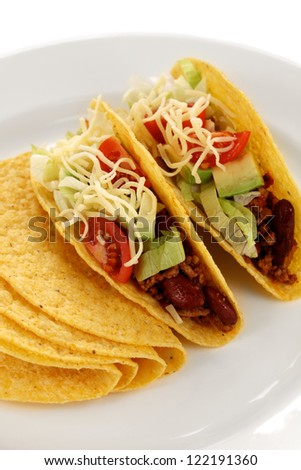 beef tacos, tex-mex mexican food - stock photo