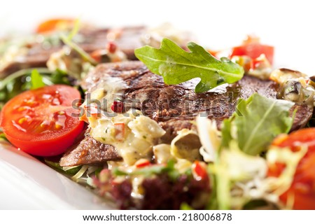 Beef Tongue Salad with Rucola and Cherry Tomato