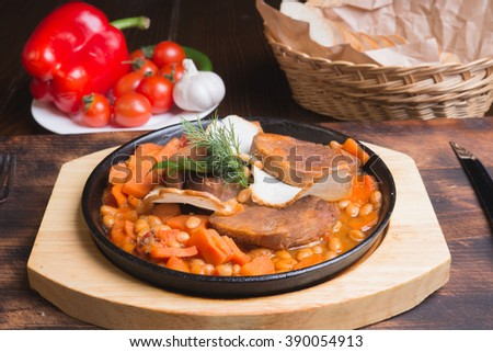 Beef Tongue with Beans and Homemade Lecho
