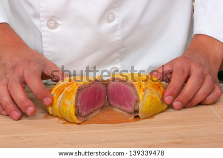 Beef Wellington  ready to be served - stock photo