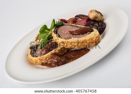Beef Wellngton with vegetables