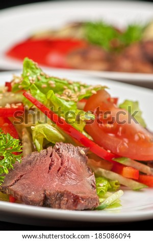 beef with fresh vegetable - tasty salad