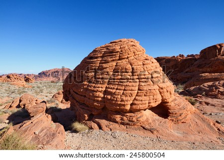 Beehive shaped rock formation, Valley of Fire State Park, Nevada. - stock photo