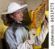 Beekeeper in an apiary holding a frame of honeycomb covered with swarming bees - stock photo