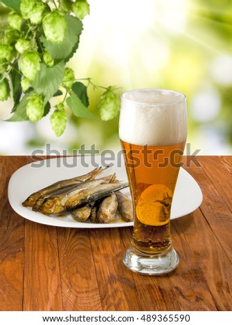 beer and fish image close up