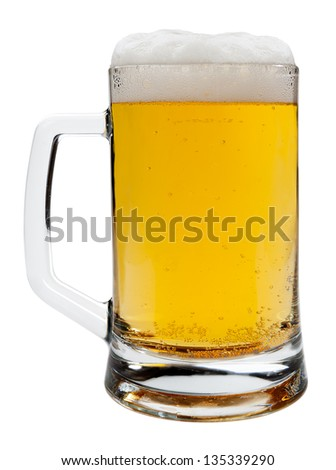 Beer and glass isolated - stock photo