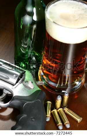 Beer and Revolver - stock photo