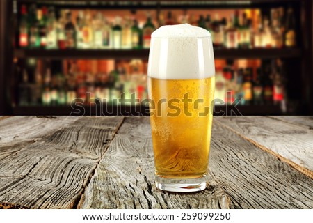 beer and table of wood