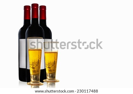 Beer and wine bottles on white background for celebration. - stock photo