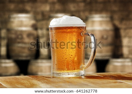 beer and wooden table place