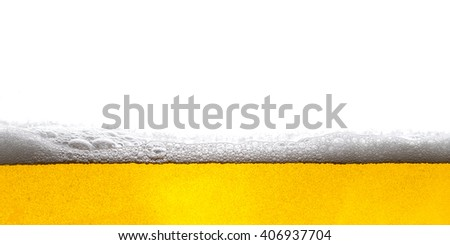 Beer Background Bubbles. Close Up of Beer Foam. - stock photo