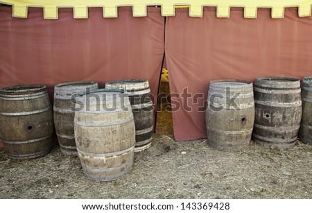 Beer barrels, detail of some old beer barrels, storage and transport, Alcohol - stock photo