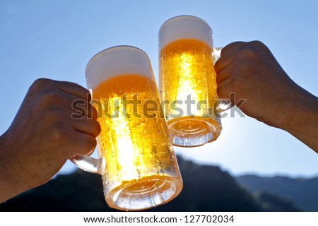 Beer, blue sky - stock photo