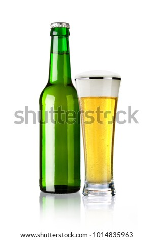 beer bottle and beer glass, isolated on white