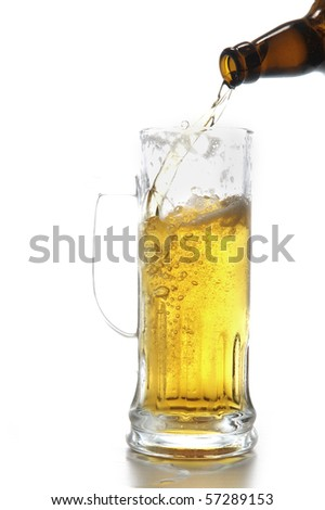 beer bottle and mug isolated on white - stock photo