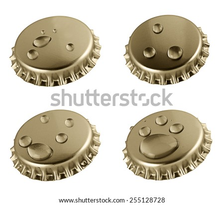 Beer bottle cap close up isolated on white - stock photo