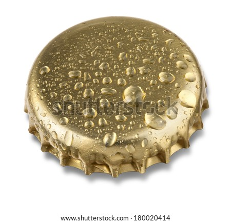 beer bottle cap close up macro Isolated on white background with clipping path - stock photo
