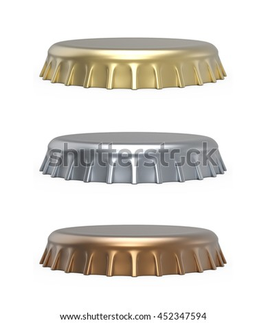 Beer bottle cap isolated on white background. Side view of the metal lid 3D rendering. - stock photo