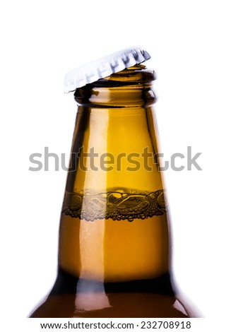 beer bottle cap open isolated on white background - stock photo