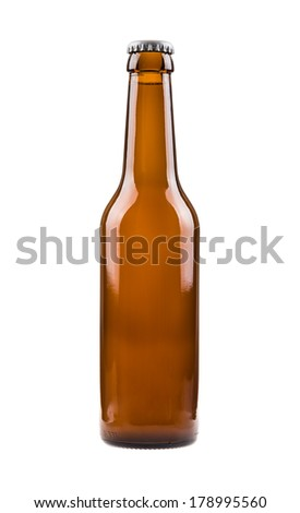 Beer bottle. Generic brown bottle, sealed and filled with beer.