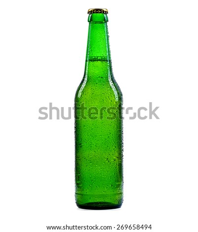Beer bottle green with drops isolation - stock photo