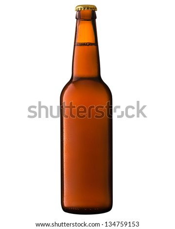 Beer bottle isolated on white background. Clipping Path
