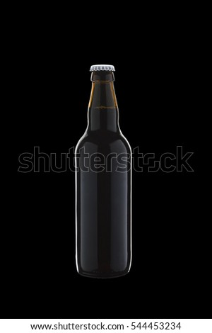 beer bottle on a black background.