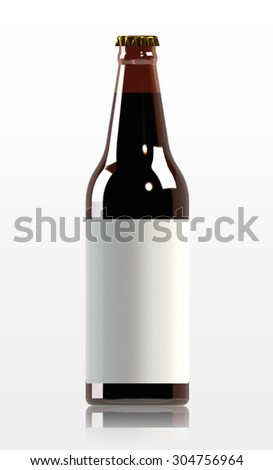 Beer bottle with blank label - 3d rendered image - stock photo