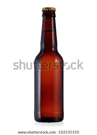 Beer bottle with drops - stock photo