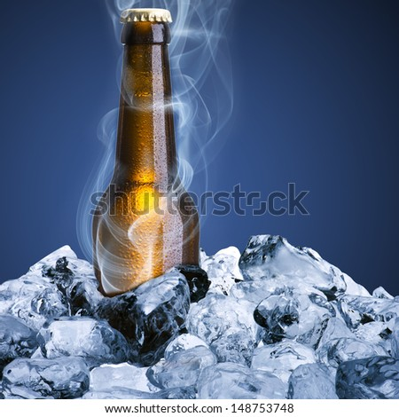 Beer bottle with ice and chill smoke - stock photo