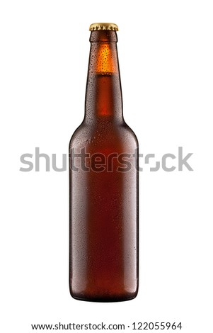 Beer bottle with water drops + Clipping Path - stock photo