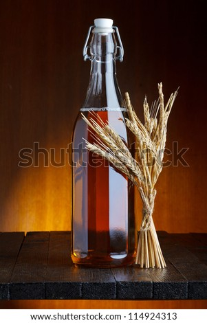 Beer bottle with wheat