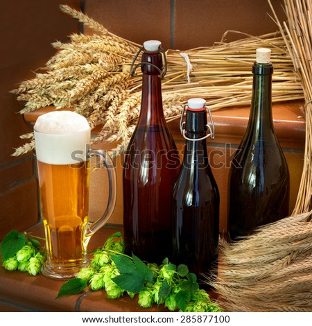 beer bottles and raw material for beer production - stock photo