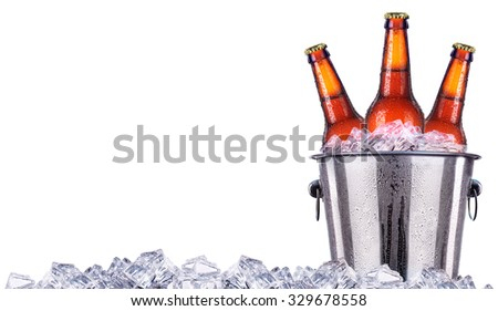 Beer bottles in ice bucket isolated on white background - stock photo