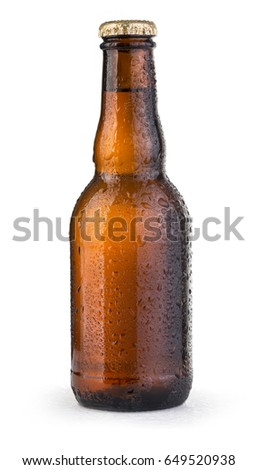 beer bottles with drops isolated on white background
