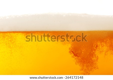 Beer bubbles, macro view - stock photo