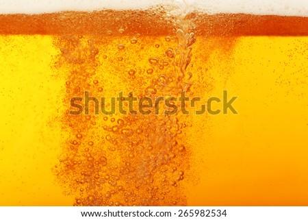 Beer bubbles, macro view - stock photo