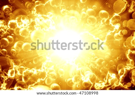 Beer bubbles on a bright gold background, abstract - stock photo