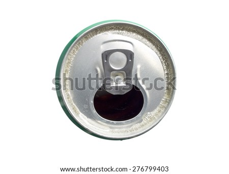 Beer Can isolated on white background, shot from above
