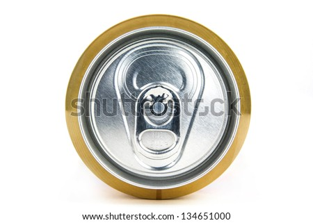 Beer can on white background, view from the top
