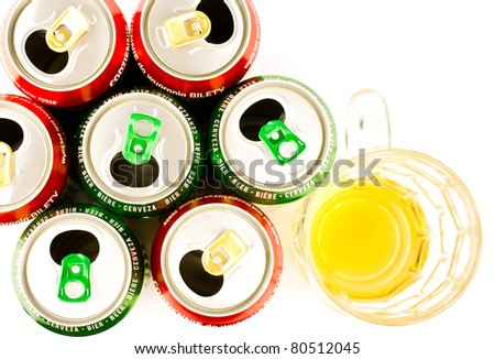 beer cans and mug isolated on white background - stock photo